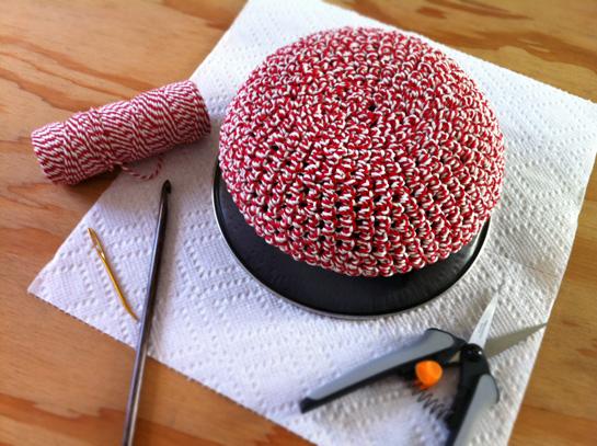 crocheted kitchen twine bowl starched blocking