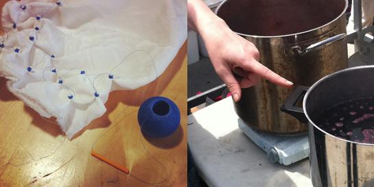 bandhani dye pots