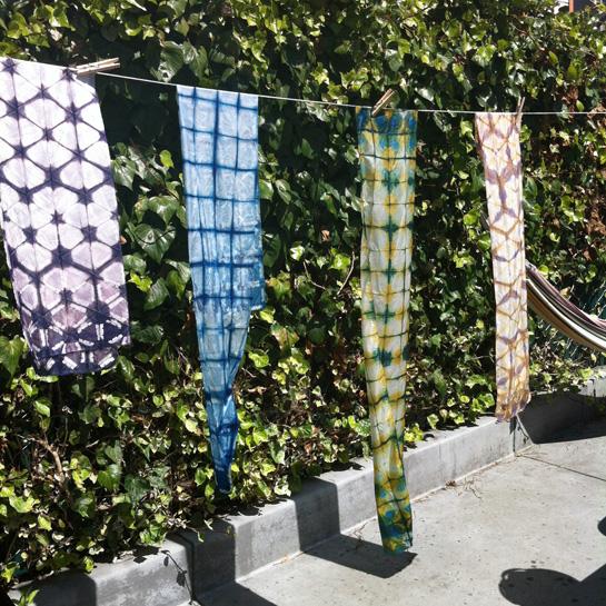 clamp resist dye silk scarves