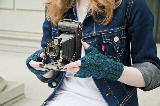 slant fingerless mitts pattern by cookie a