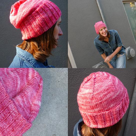 tosh dk geranium pink beanie knitting pattern