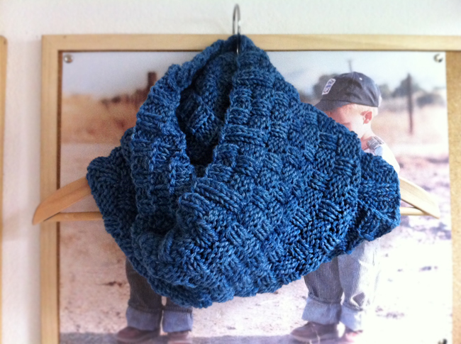 double basketweave cowl free knitting pattern