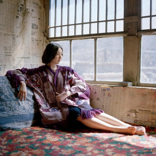 momo wang third hand purple kimono fringe