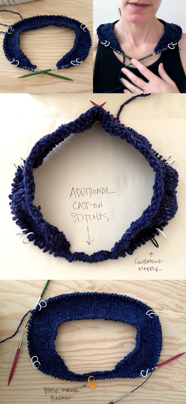 How to knit the neck shaping for a top-down sweater