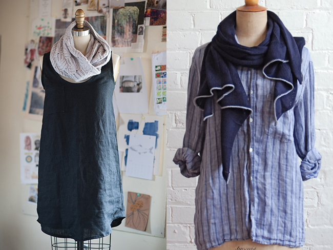 shirt, dress and scarf by carrie hoge and primoeza