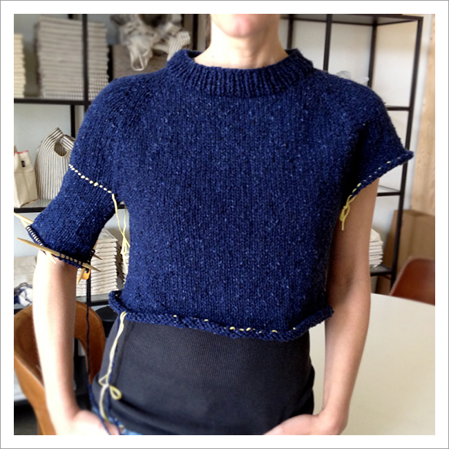 knitting body and sleeves on top-down sweater