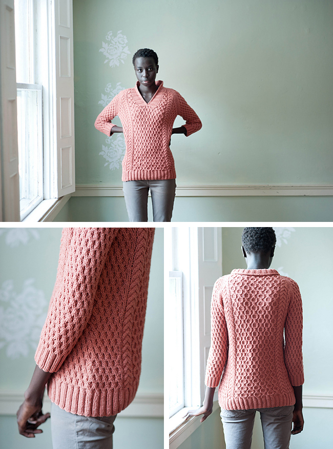 honeymaker aran sweater knitting pattern by leah thibault