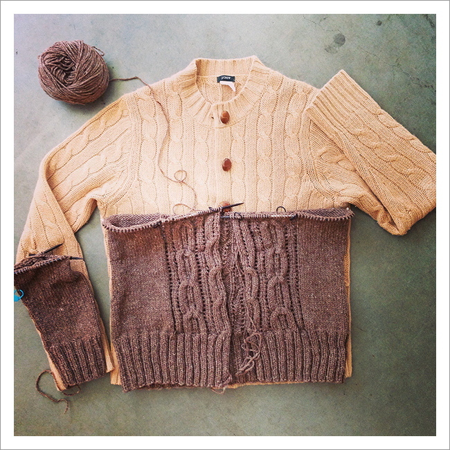 Acer cardigan knitted up to the underarms
