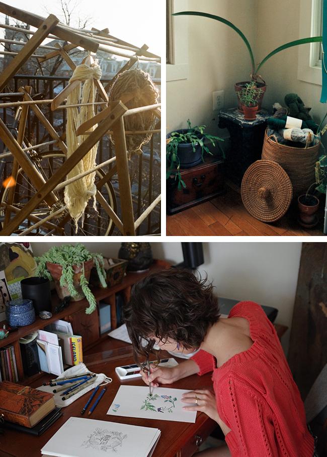 Jess Schreibstein knitting and spinning