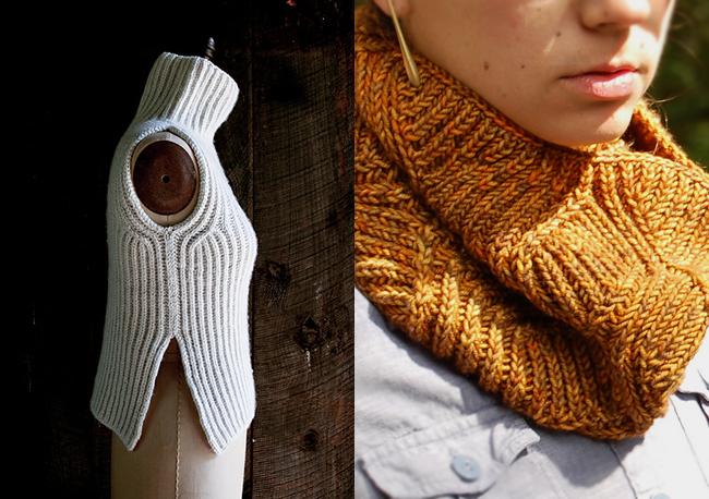 Brioche stitch sweater and cowl patterns
