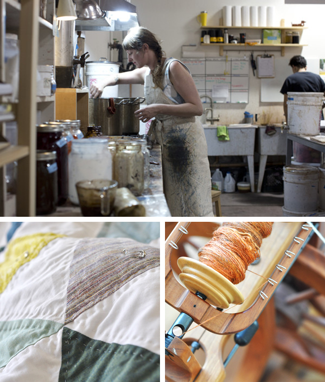Kristine Vejar dye studio, quilt, spinning wheel