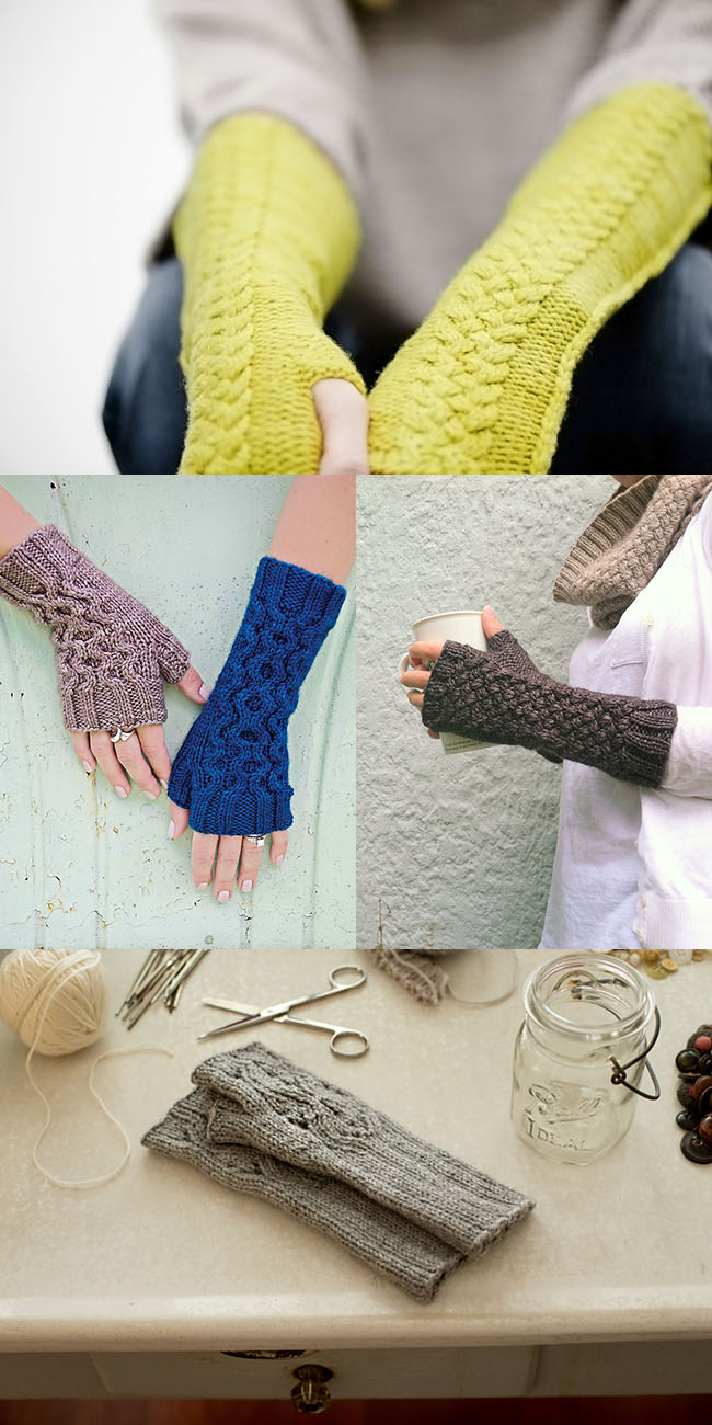 Big textured fingerless glove patterns