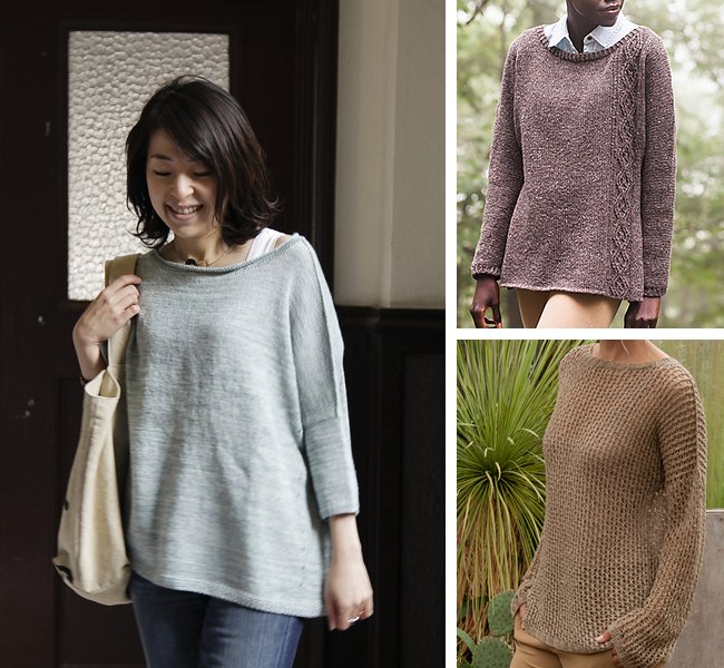 Drop-shoulder and dolman sweater knitting patterns for first-timers