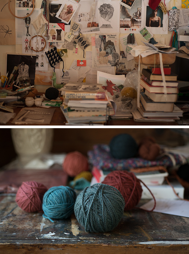 Desk and yarn of Carrie Bostick Hoge