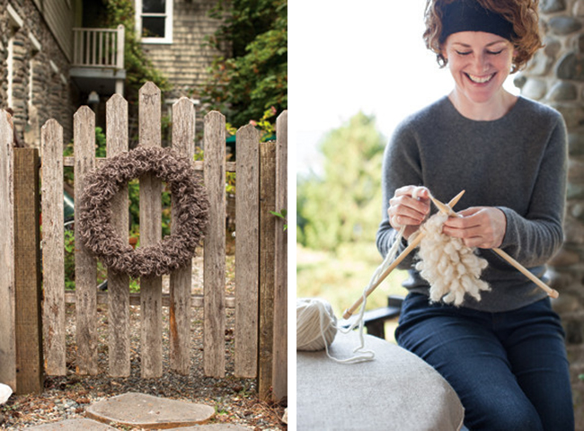 Loop stitch knitted wreath