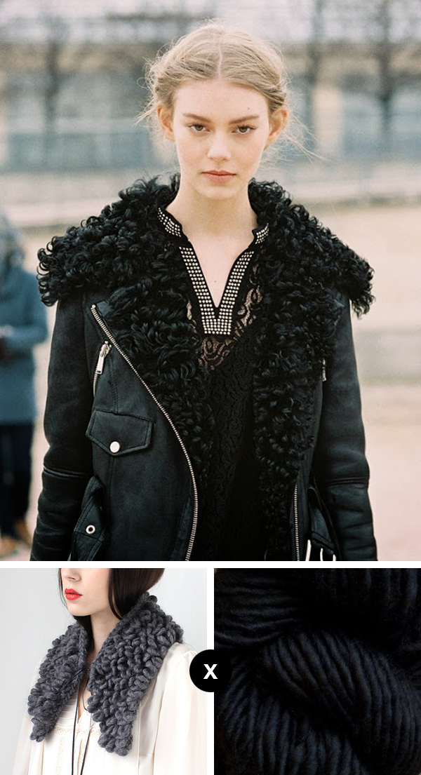 How to knit a version of Ondria Hardin's amazing shearling collar