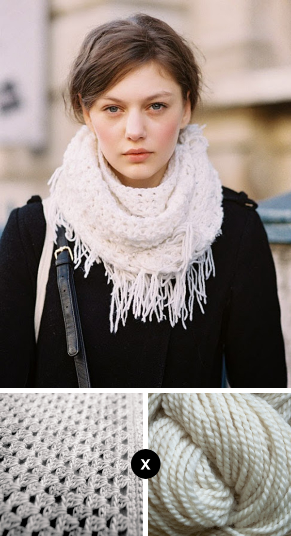 Knit the Look: Crocheted wrap with fringe