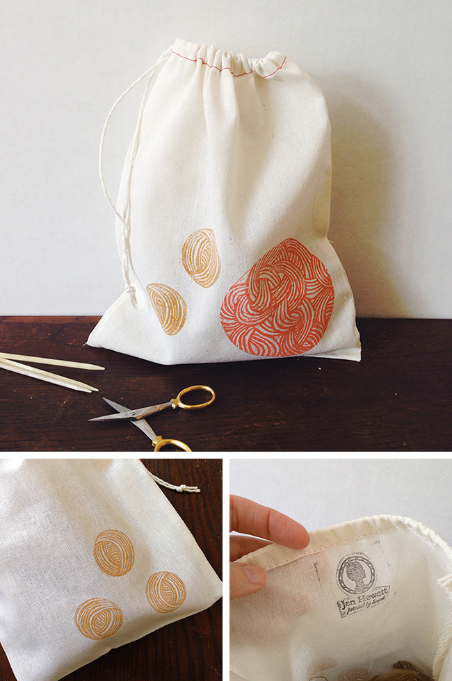 Jen Hewett drawstring bags: too pretty to last!