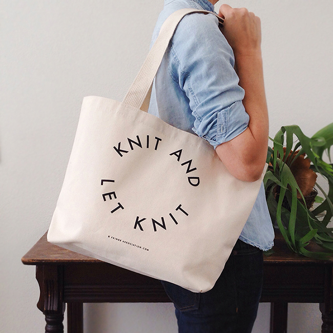 Knit and Let Knit tote, new from Fringe Supply Co.