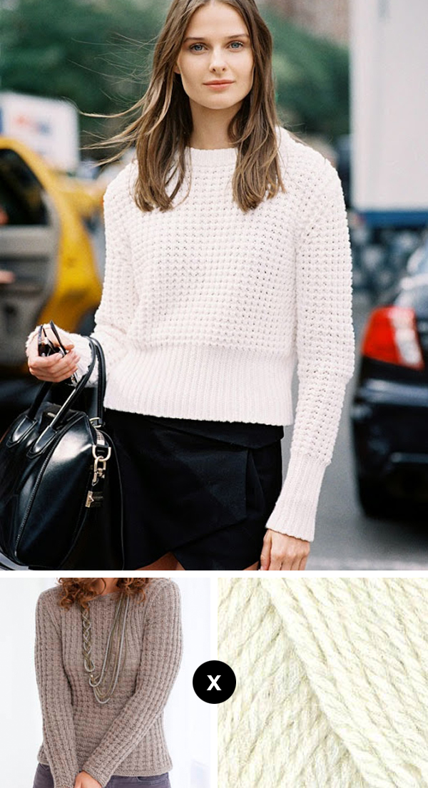 Knit the Look: Vasilisa Pavlova's waffle sweater