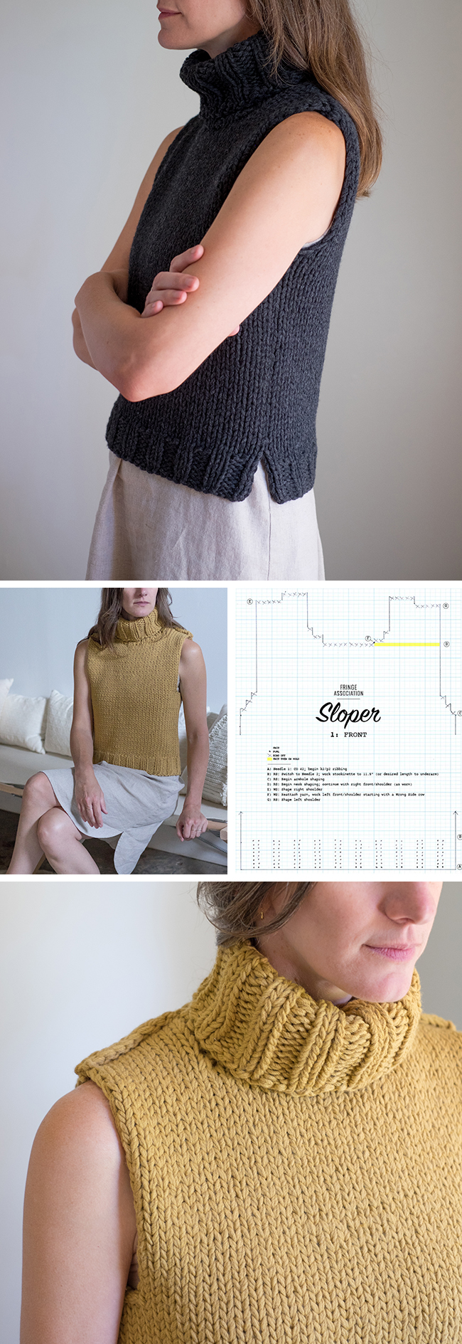 Knitting Pattern Of The Day : Sloper: Basic pattern for a sleeveless sweater Fringe ...