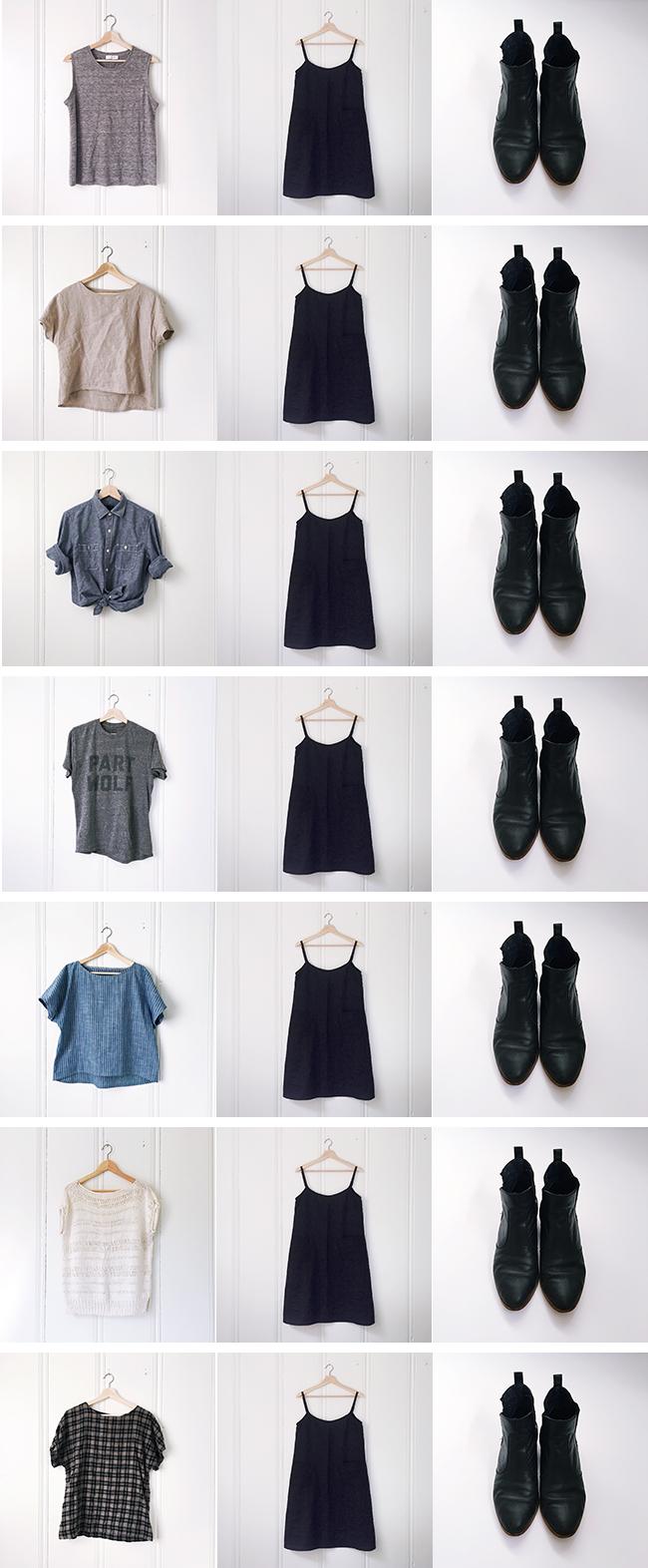 2017 Remake-1 : Black linen slip dress + more camo mending