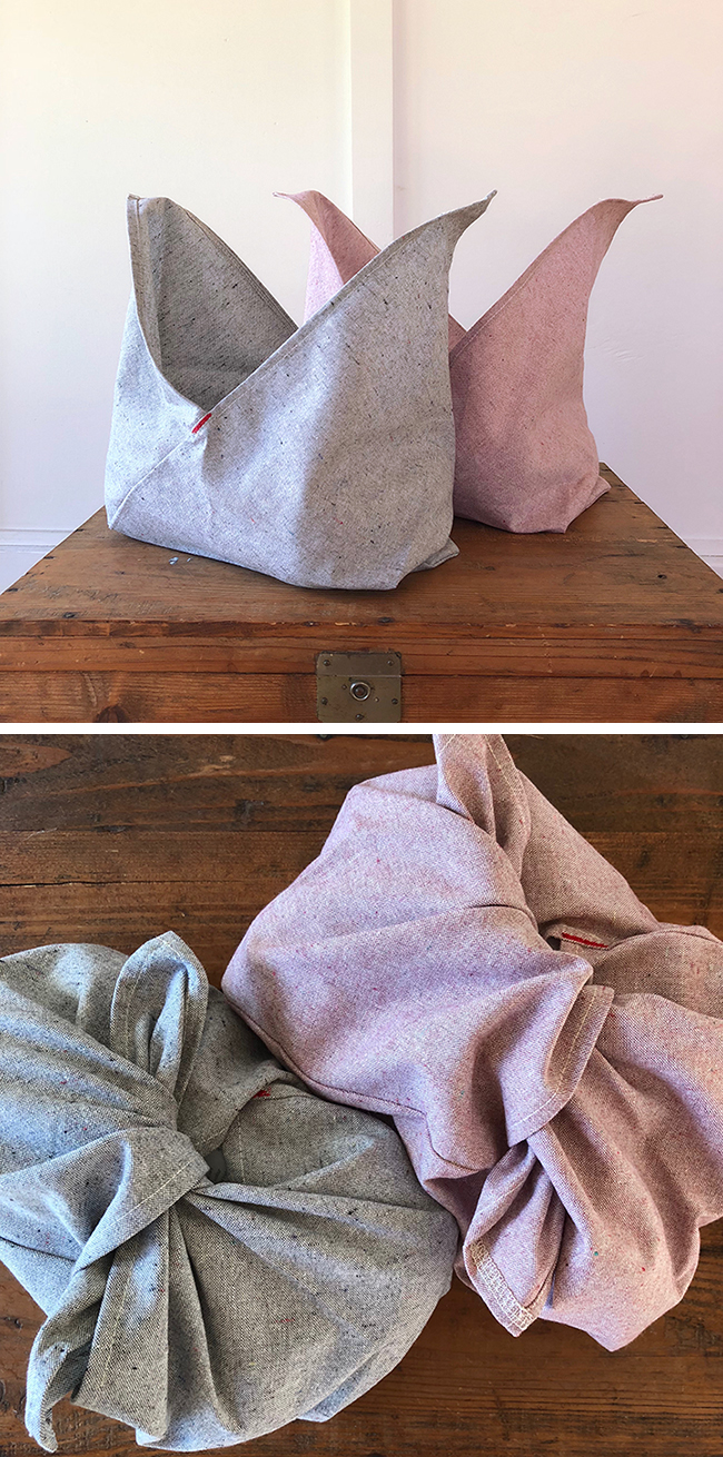 Bento Bags in recycled grey or pink